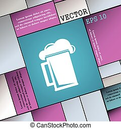 glass of beer icon sign. Modern flat style for your design. Vector