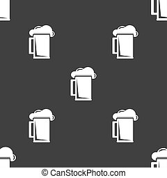 glass of beer icon sign. Seamless pattern on a gray background.