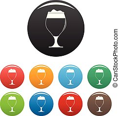 Glass of beer icons set color vector