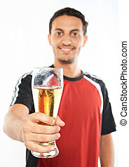 glass of beer in man hand