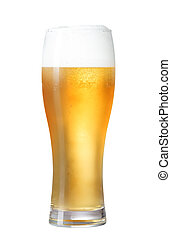 glass of beer isolated on white with clipping path included