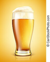 Glass of beer isolated. Realistic vector illustration