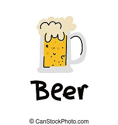 Glass of beer isolated vector illustration