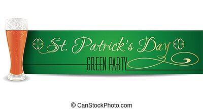 Glass of beer on a background of St. Patricks Day banner. Gold lettering on a green background