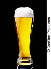 glass of  beer on black