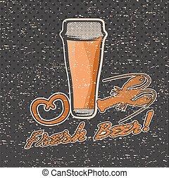 glass of beer on grunge background retro illustration
