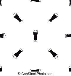 Glass of beer pattern seamless black