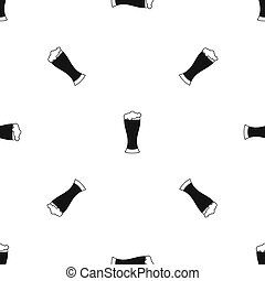 Glass of beer pattern seamless black