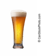 glass of beer - a glass of wheat beer isolated
