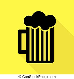 Glass of beer sign. Black icon with flat style shadow path on yellow background.