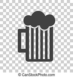 Glass of beer sign. Dark gray icon on transparent background.