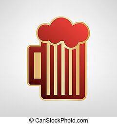 Glass of beer sign. Vector. Red icon on gold sticker at light gray background.