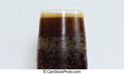 Glass of Beer - Glass of dark Beer on white background. 4k...