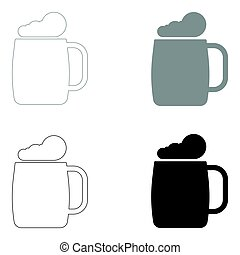 Glass of beer the black and grey color set icon .