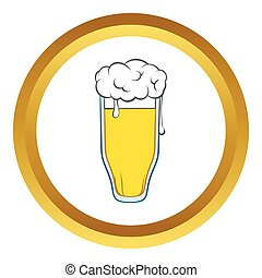 Glass of beer vector icon, cartoon style