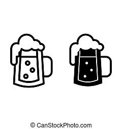 Glass of beer with bubbles line and glyph icon. Foamy glass of beer vector illustration isolated on white. Beer mug with froth outline style design, designed for web and app. Eps 10.