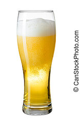 glass of beer with foam and bubbles isolated on white