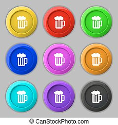 Glass of beer with foam icon sign. symbol on nine round colourful buttons. Vector