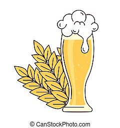 glass of beer with froth and spike on white background