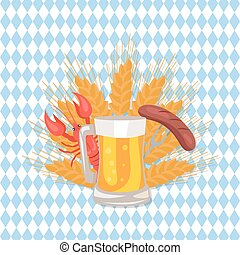 Glass of Beer with Grilled Sausage on Folk Vector