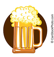 Glass of beer.Vector color symbol of Illustration for design