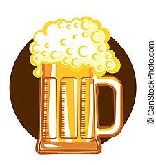 Glass of beer.Vector color symbol of Illustration for design