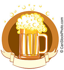 Glass of beer.Vector color symbol of Illustration for text