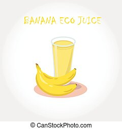 Glass of bio fresh banana juice. Vector illustration. Text title.