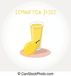 glass of bio fresh lemon juice. Vector illustration. Text title.