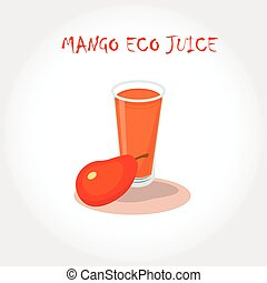 glass of bio fresh mango juice. Vector illustration. Text title.
