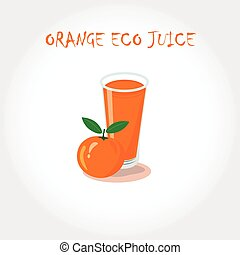 glass of bio fresh orange juice. Vector illustration. Text title.