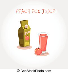 glass of bio fresh peach juice. Vector illustration. Text title.