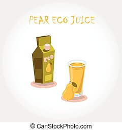 glass of bio fresh pear juice. Vector illustration. Text title.