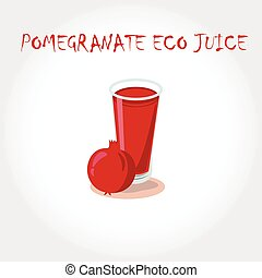 glass of bio fresh pomegranate juice. Vector illustration. Text title.