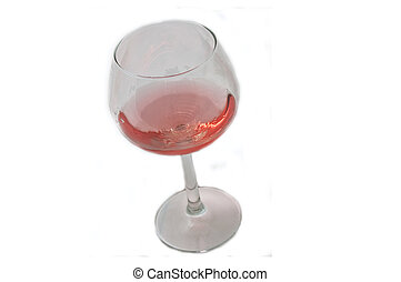 Glass of Blush Wine Isolated on White