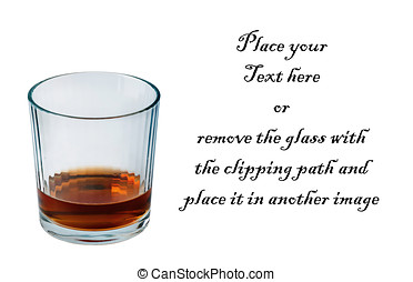 Glass of Bourbon whiskey with clipping path