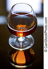Glass of Brandy. Macro.