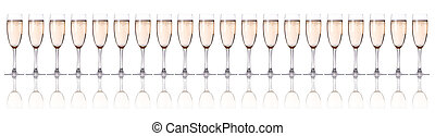 glass of champagne flutes on a white