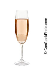 Glass of champagne isolated on a white background