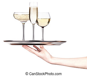 glass of champagne on a silver tray