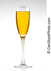Glass of champagne on a white