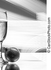 glass of champagne on red background. - glass of champagne...