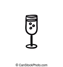 Glass of champagne sketch icon. - Glass of champagne vector...