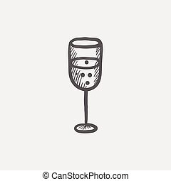 Glass of champagne sketch icon