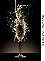 Glass of champagne with splash, isolated on black