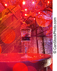 Glass of cherry liqueur. The business card of the city of Lviv is cherry liqueur.