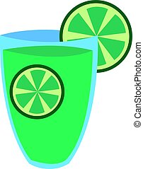 Glass of citrus juice, illustration, vector on white background.