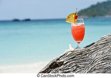 Glass of Cocktail at the Beach
