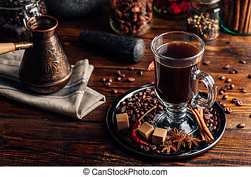 Glass of Coffee with Spices.