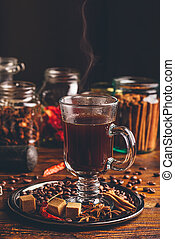 Glass of Coffee with Steam.